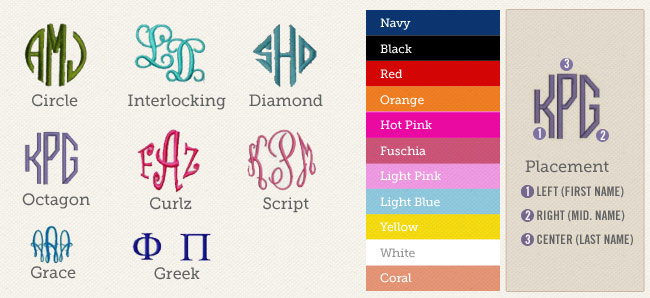 Monogram Options for CoveRumps - yoga pants, athletic coverups and layering skirts