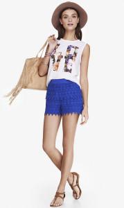 Express Blue Crochet Short
